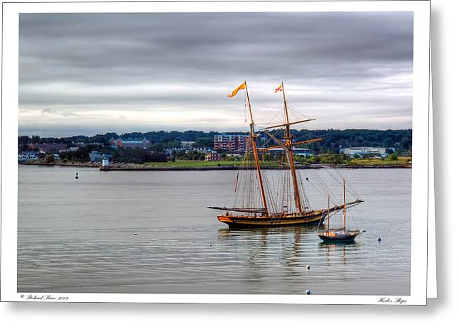 Greeting Card featuring the photograph Harbor Ships by Richard Bean