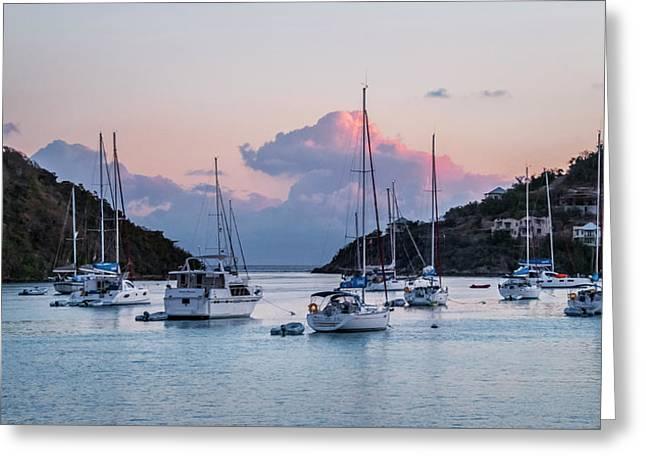 Harbor Sunset Greeting Card by Alida Thorpe
