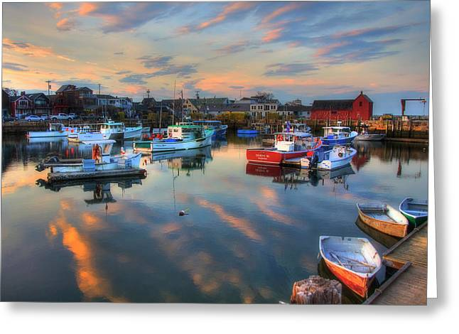 Harbor Sunset In Rockport Ma Greeting Card
