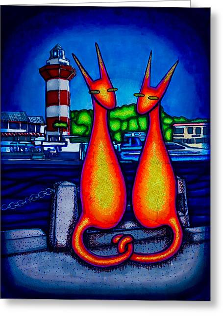 Harbor Town Kats Greeting Card