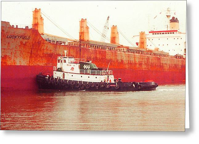 ist Working Photo Digital Greeting Cards - Harbor Tugboat Greeting Card by Fred Jinkins