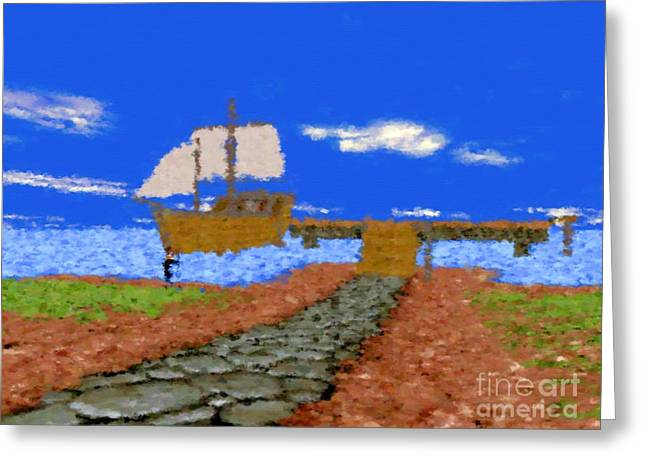 Harbor With Boat Greeting Card