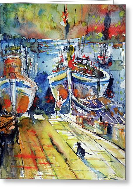 Harbor With Cats Greeting Card by Kovacs Anna Brigitta