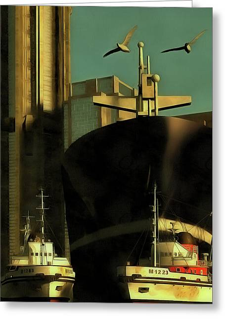 Harbor With Towboats Greeting Card