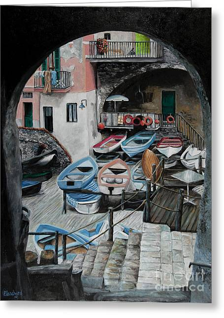 Boats In Harbor Greeting Cards - Harbors Edge In Riomaggiore Greeting Card by Charlotte Blanchard