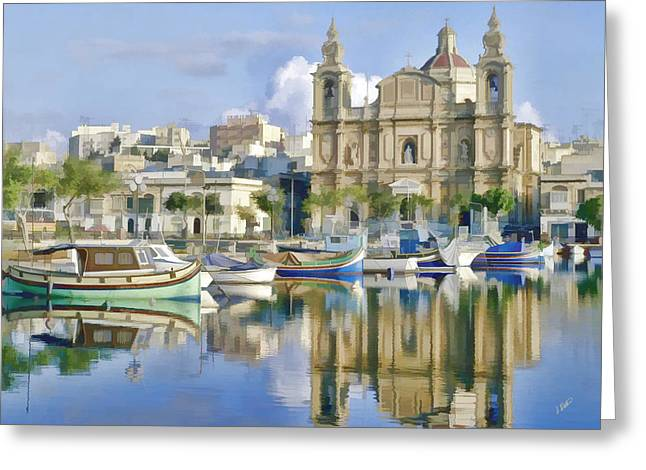 Harborside Msida Malta Greeting Card