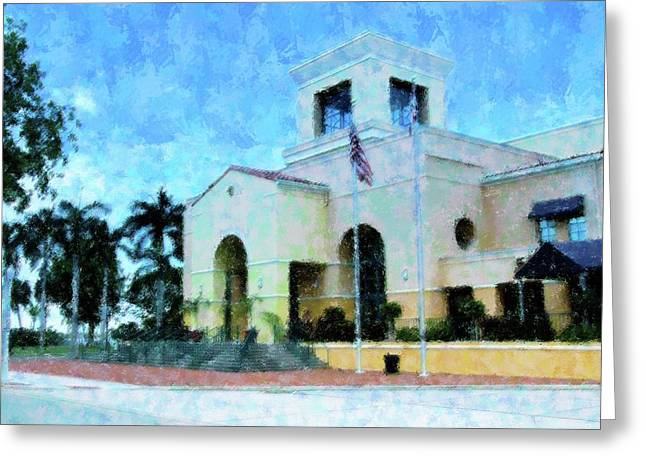 Convention Mixed Media Greeting Cards - Harborside n Palms Greeting Card by Florene Welebny