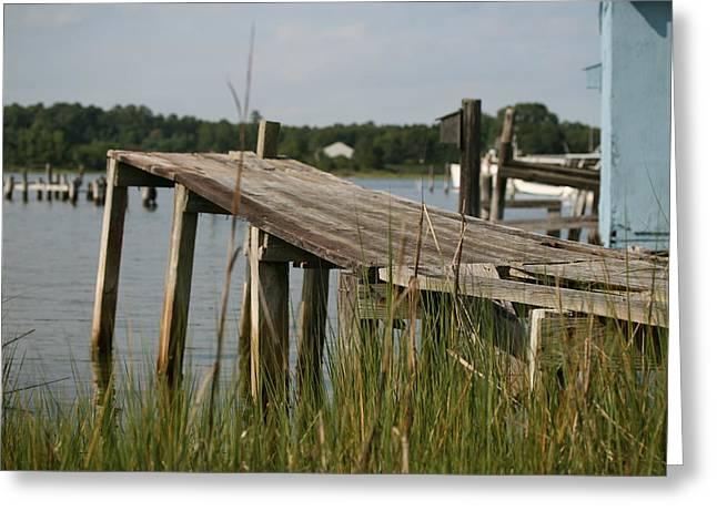 Harborton Dock Greeting Card by Karen Fowler