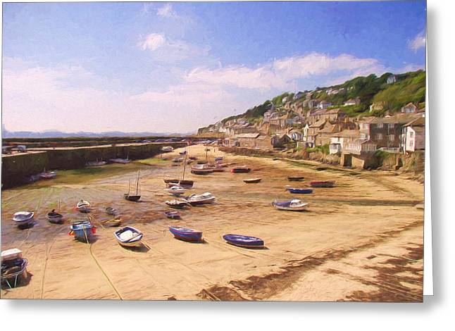 Harbour At Low Tide - Mousehole Greeting Card by Jayne Wilson
