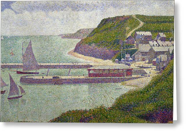 Georges Pierre Greeting Cards - Harbour at Port en Bessin at High Tide Greeting Card by Georges Pierre Seurat