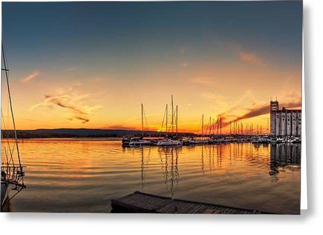 Harbour At Sunset Greeting Card by Jeff S PhotoArt