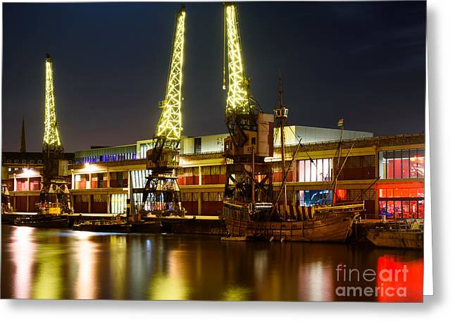 Harbour Cranes Greeting Card by Colin Rayner