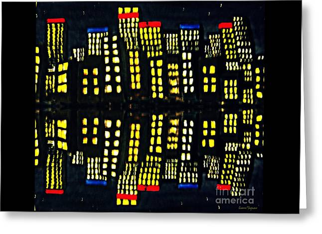 Harbour Lights Reflected 1 Greeting Card by Leanne Seymour