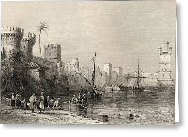 Harbour Of Rhodes, Greece. Engraved By Greeting Card by Vintage Design Pics