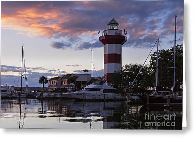 Harbour Town At Sunset Hilton Head Island Greeting Card by Louise Heusinkveld