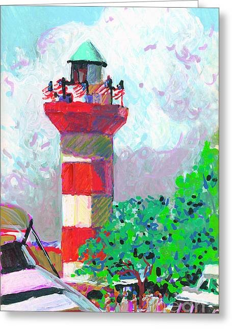 Harbour Town Light House Greeting Card by Candace Lovely