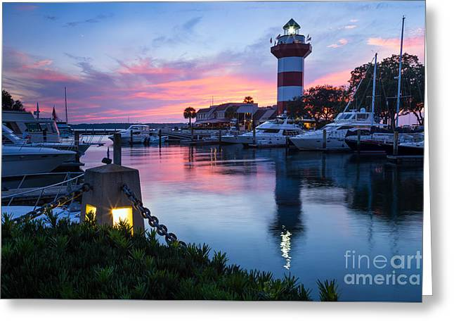 Harbour Town Sunset, Hilton Head Island, South Carolina Greeting Card by Dawna Moore Photography