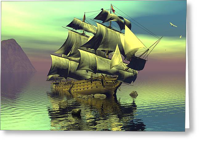 Hard Aground Taking On Water Greeting Card by Claude McCoy