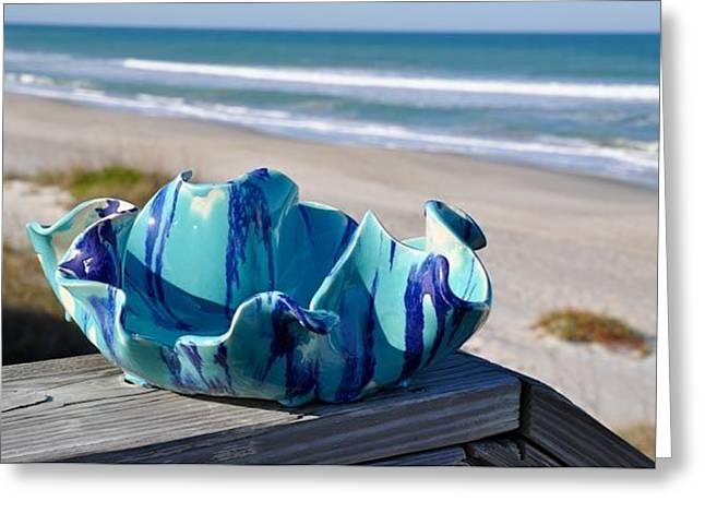 Beaches Ceramics Greeting Cards - Hard Candy bowl Greeting Card by Gibbs Baum
