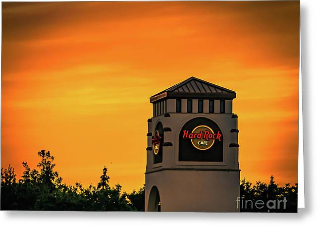 Hard Rock Cafe At Sunset Greeting Card by Claudia M Photography