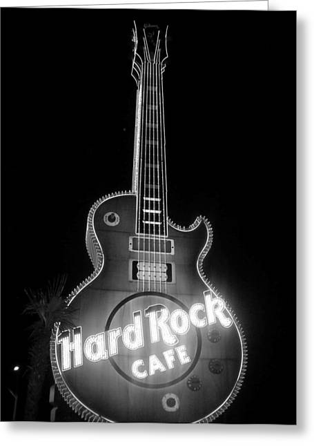 Hard Rock Cafe Sign B-w Greeting Card