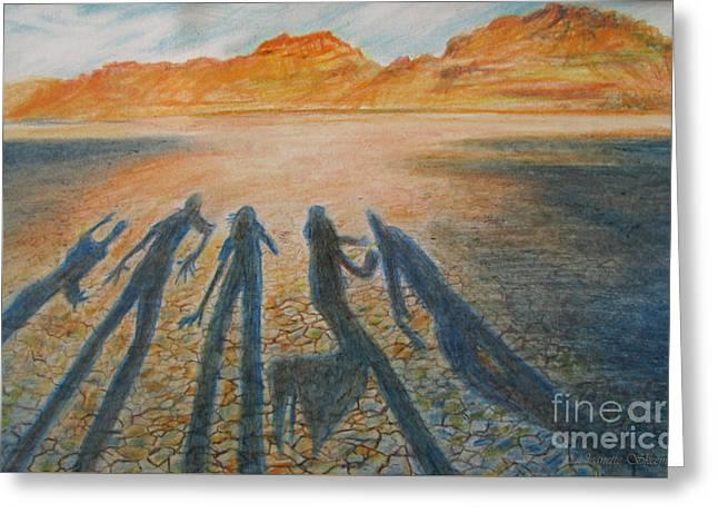 Hardpan Shadows Greeting Card by Jeanette Skeem