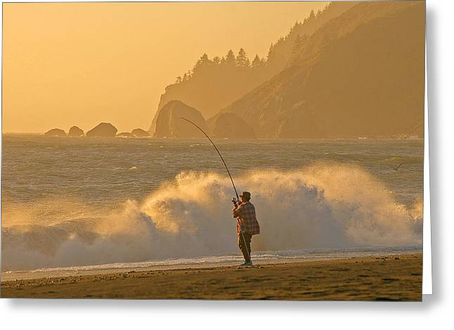 Hardy Fisherman On The California Coast Greeting Card
