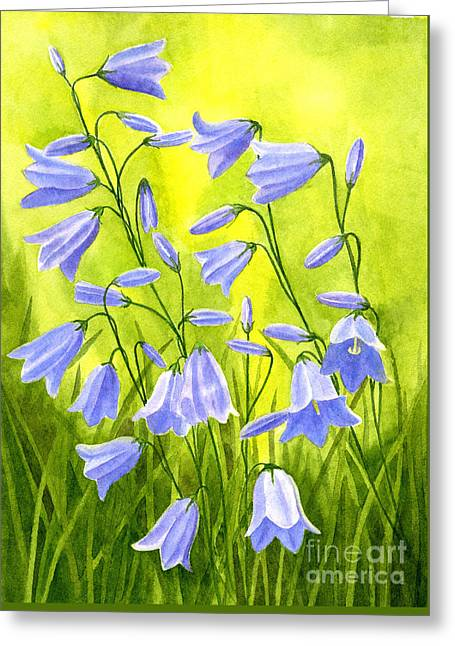 Harebells With Yellow And Green Background Greeting Card by Sharon Freeman