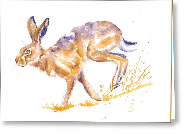 Harebrained Greeting Card by Debra Hall