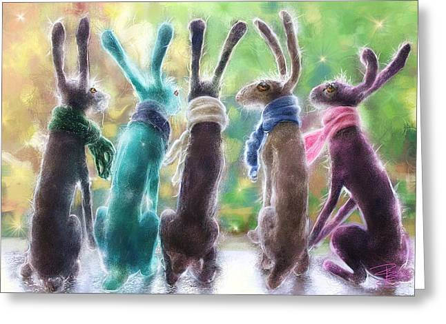 Hares With Scarves Greeting Card by Debra Baldwin