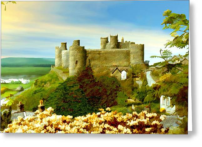 Harlech Castle Greeting Card by Kurt Van Wagner