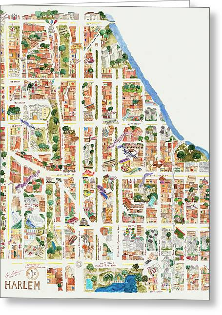 Harlem Map From 106-155th Streets Greeting Card
