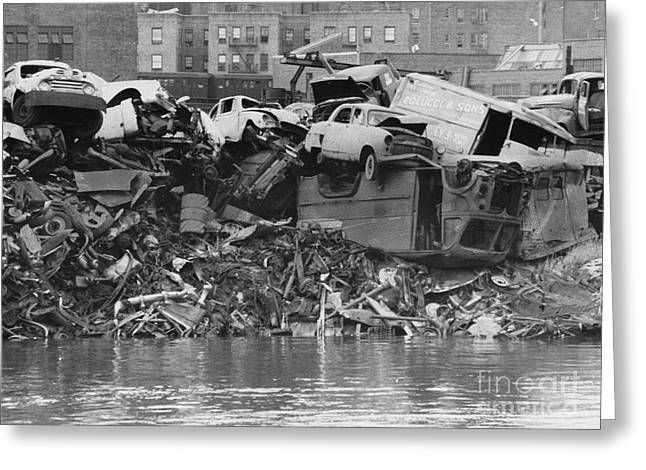 Greeting Card featuring the photograph Harlem River Junkyard, 1967 by Cole Thompson
