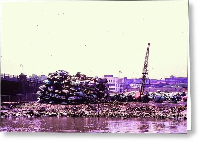 Greeting Card featuring the photograph Harlem River Junkyard by Cole Thompson