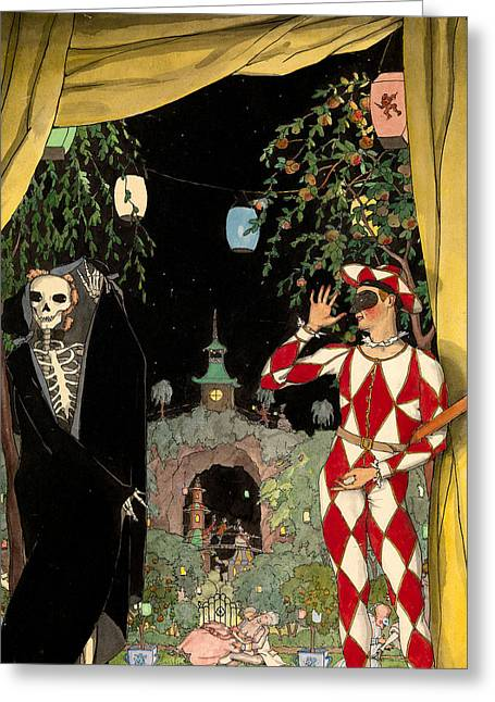 Harlequin And Death Greeting Card by Konstantin Somov