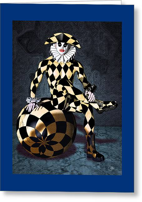 Harlequin Circus Mime Greeting Card by Quim Abella