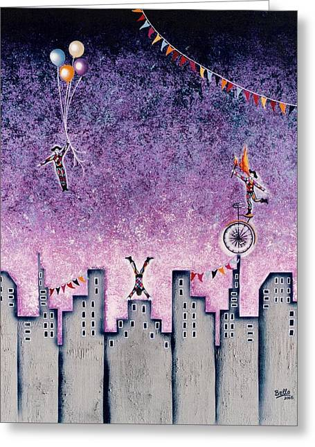 Harlequins Festival Greeting Card by Graciela Bello