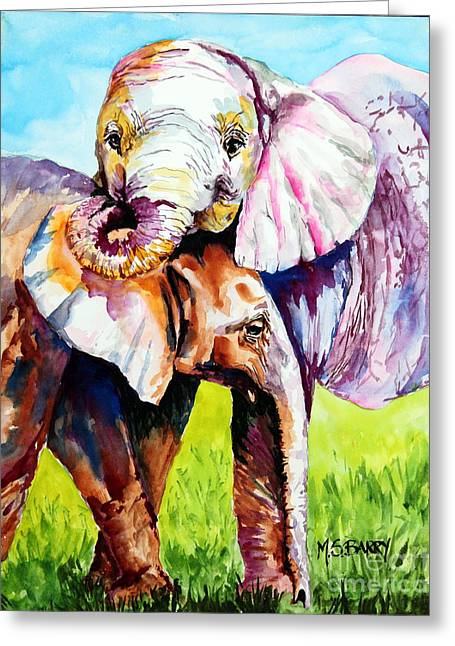 Harley And Bentley Greeting Card by Maria Barry