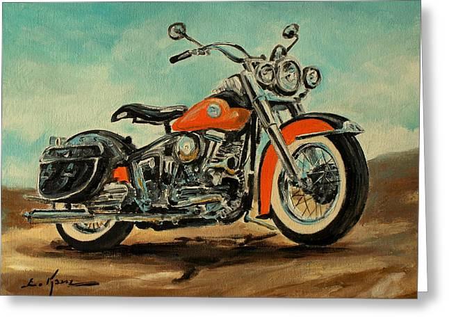 Harley Davidson 1956 Flh Greeting Card