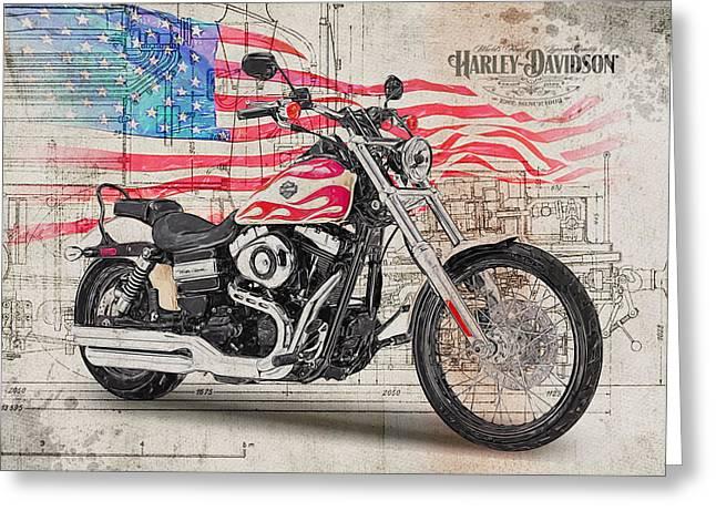 Harley Davidson Fxdwg Wide Glide Greeting Card