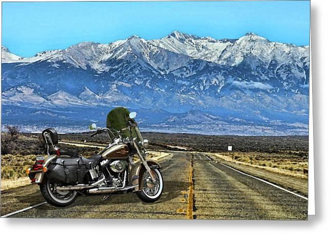 Harley Davidson Heritage Motorcycle On The Doorstep Of The Rockies, Colorado Greeting Card