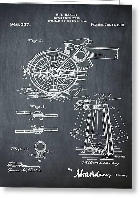 Harley Davidson Kickstand Patent 1910 In Chalk Greeting Card