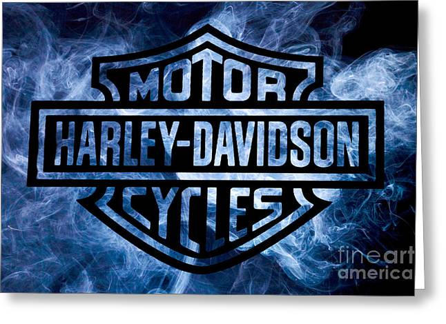 Harley Davidson Logo Blue Greeting Card by Randy Steele