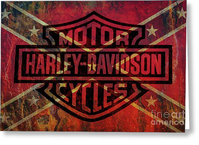 Harley Davidson Logo Confederate Flag Greeting Card