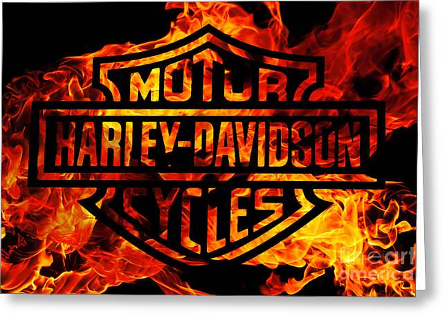 Harley Davidson Logo Flames Greeting Card by Randy Steele