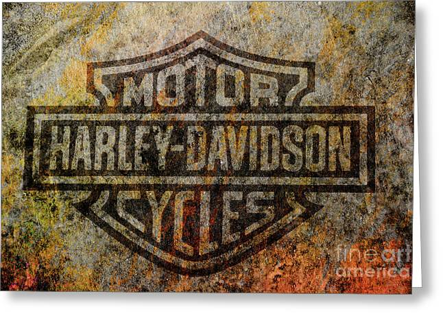Harley Davidson Logo Grunge Metal Greeting Card by Randy Steele