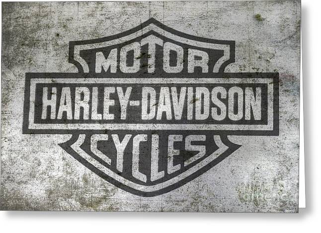 Harley Davidson Logo On Metal Greeting Card by Randy Steele