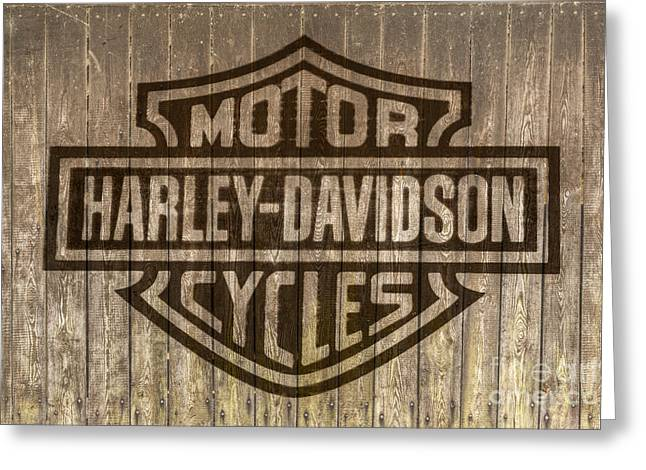 Harley Davidson Logo On Wood Greeting Card
