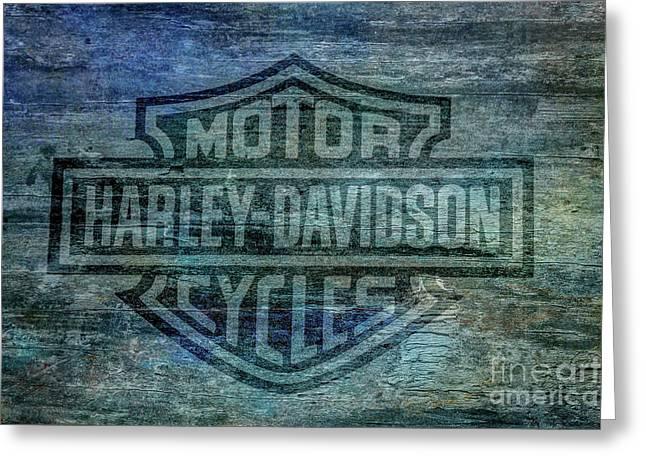 Harley Davidson Logo Weathered Wood Greeting Card by Randy Steele