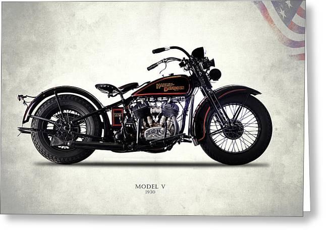 Harley-davidson Model V 1930 Greeting Card by Mark Rogan